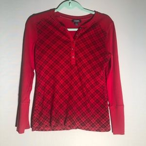 Chaps Plaid Red Long Sleeve G21